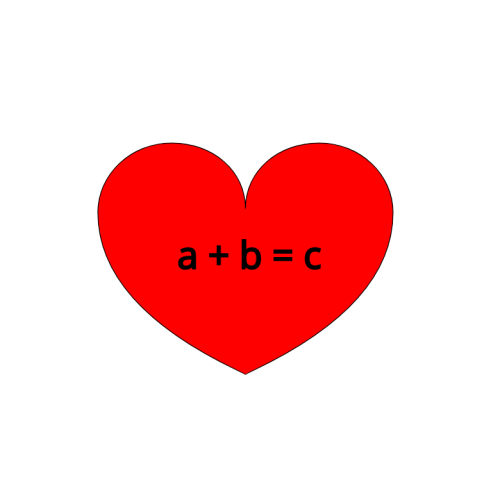 Heart with a+b=c in the center